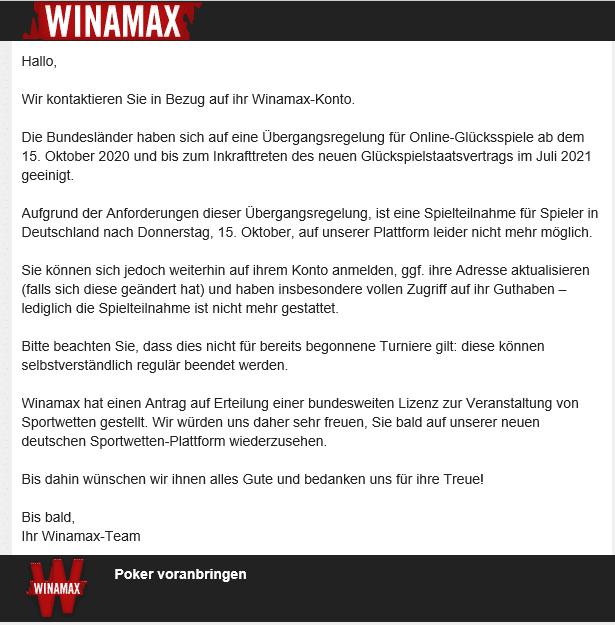 winamax sperrt Spieler aus Deutschland